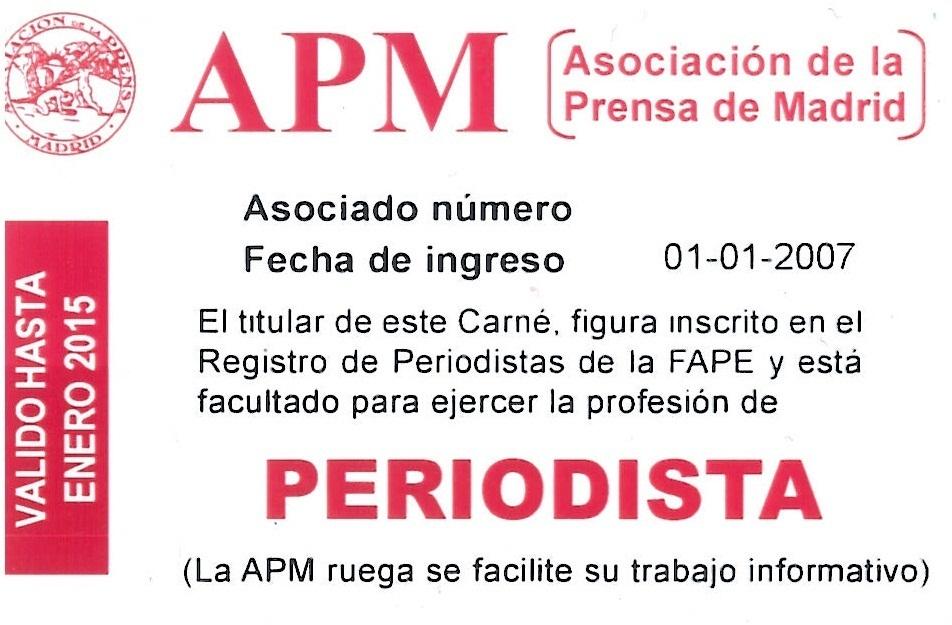 Carné de la Asociación de la Prensa de Madrid-FAPE (anverso y reverso).