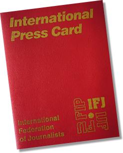 Carné de la Federación Internacional de Periodistas-