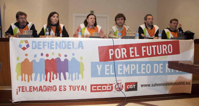 Miembros del comité de empresa de Radio Televisión Madrid. Fotos: Miguel Ángel Benedicto / APM