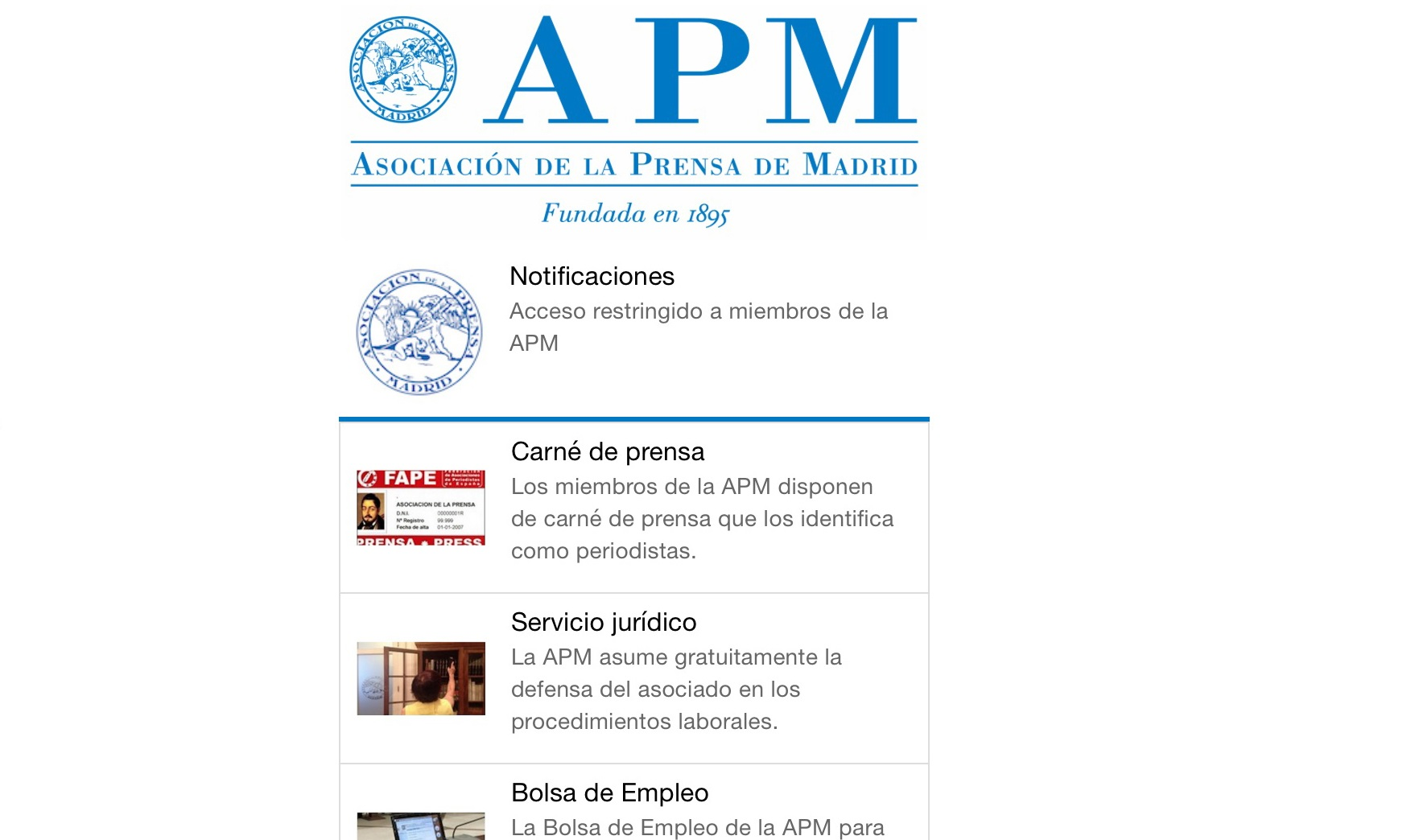 La Asociación de la Prensa de Madrid lanza una aplicación para móvil
