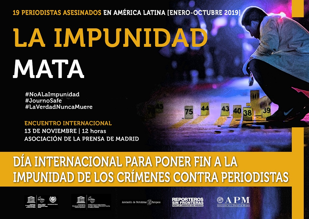 La APM acoge la conmemoración del Día Internacional para poner Fin a la Impunidad de los Crímenes contra Periodistas por segunda vez en España