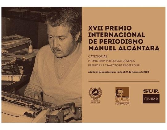 Abierta la convocatoria del XVII Premio Internacional de Periodismo Manuel Alcántara