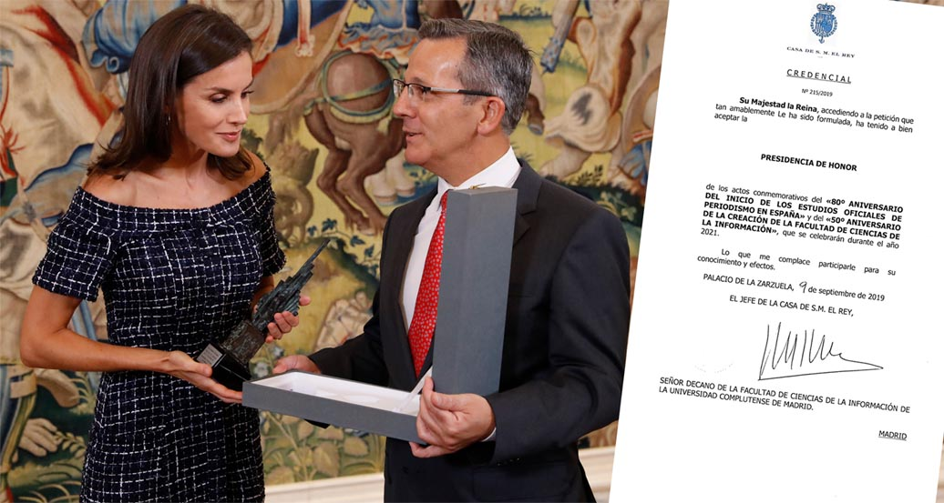 La reina Leizia, junto a Jorge Clemente, decano de la Facultad.